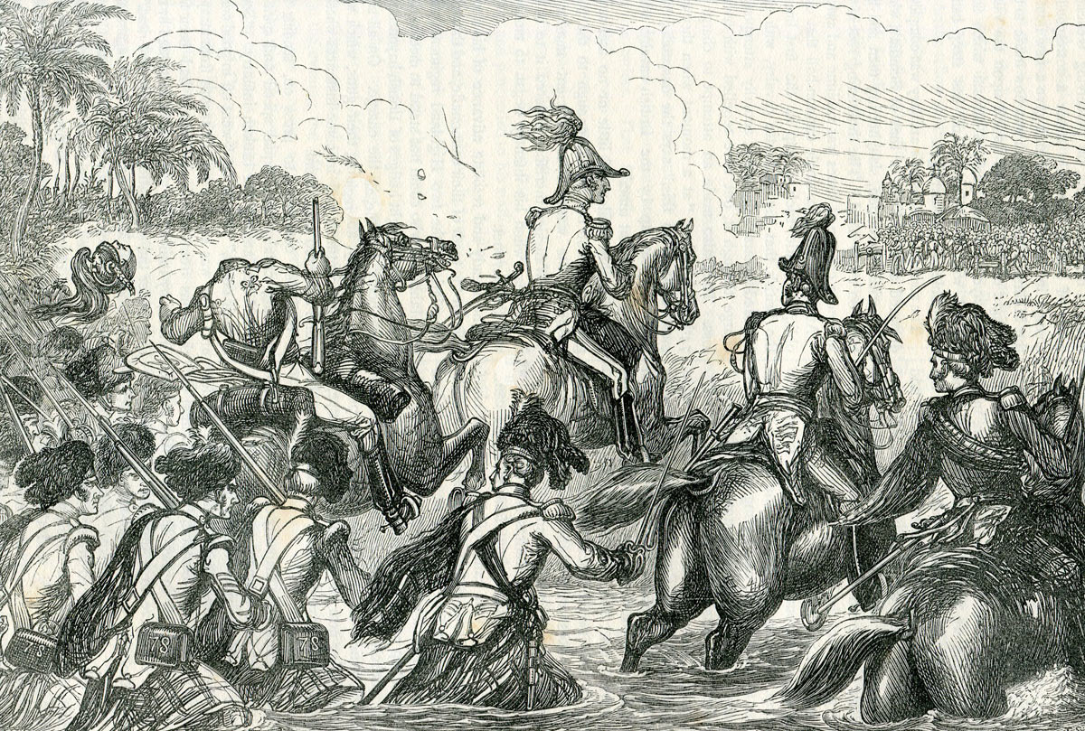 Sir Arthur Wellesley leading the Highlanders across the Kaitna River at the Battle of Assaye on 23rd September 1803 in the Second Mahratta War in India