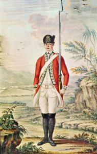 British Light Infantryman: Battle of Freeman's Farm on 19th September 1777 in the American Revolutionary War