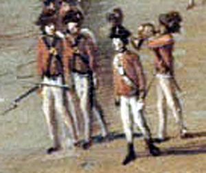 British Light Infantry with the bugle horn player: Battle of Harlem Heights 16th September 1776 in the American Revolutionary War