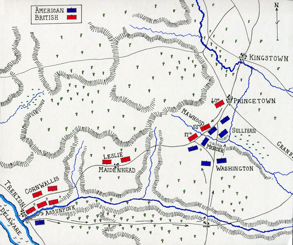 map of the battle of princeton on 3rd january 1777 in the american revolutionary war