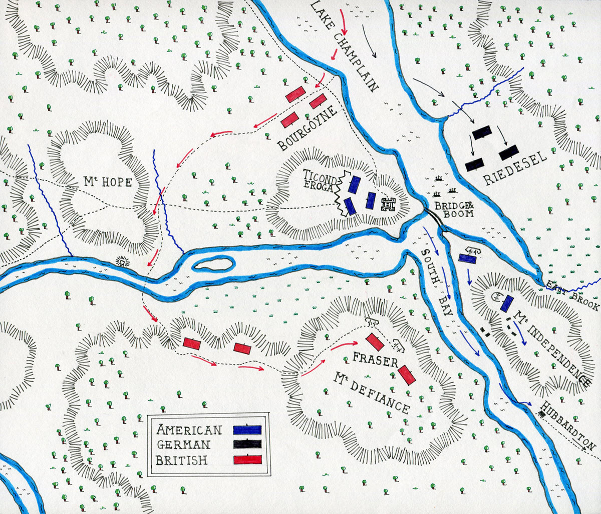 Map of the Battle of Fort Ticonderoga on 6th July 1777 in the American Revolutionary War: map by John Fawkes