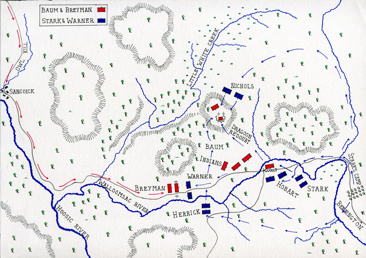 Map of the Battle of Bennington on 16th August 1777 in the American Revolutionary War: map by John Fawkes