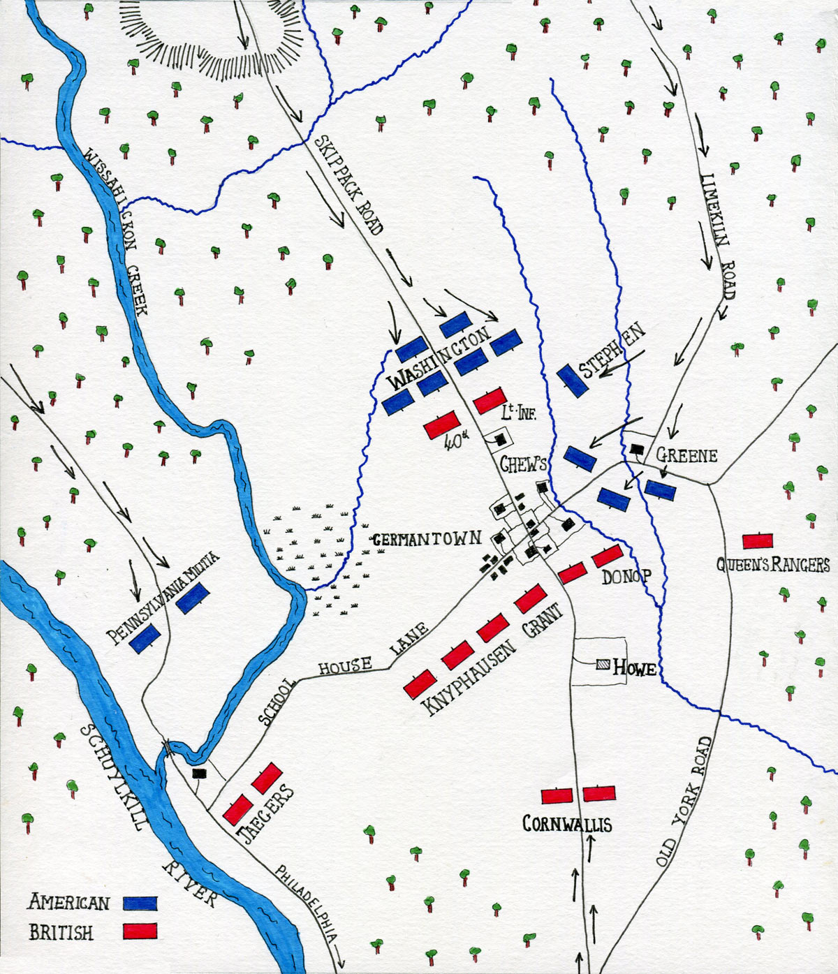 Map of the Battle of Germantown on 4th October 1777 in the American Revolutionary War: map by John Fawkes