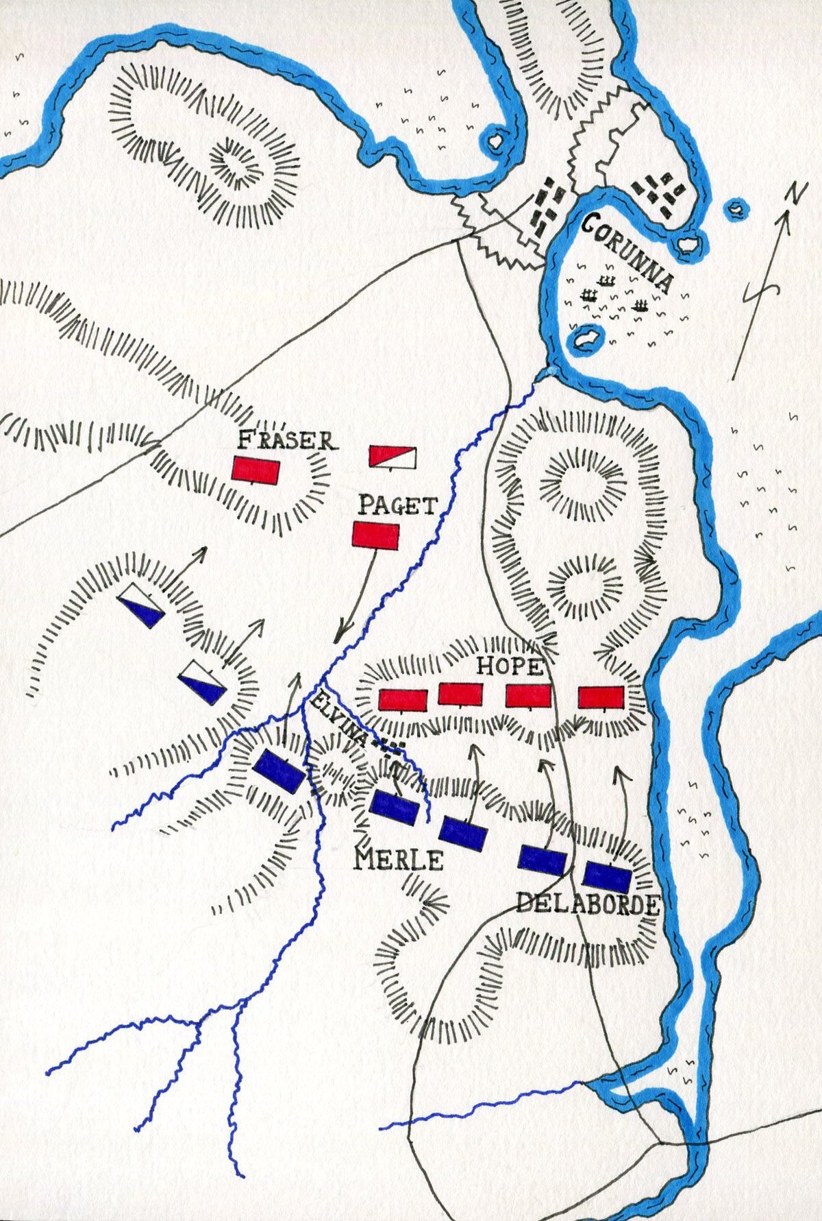 Map of the Battle of Corunna on 16th January 1809 in the Peninsular War: map by John Fawkes