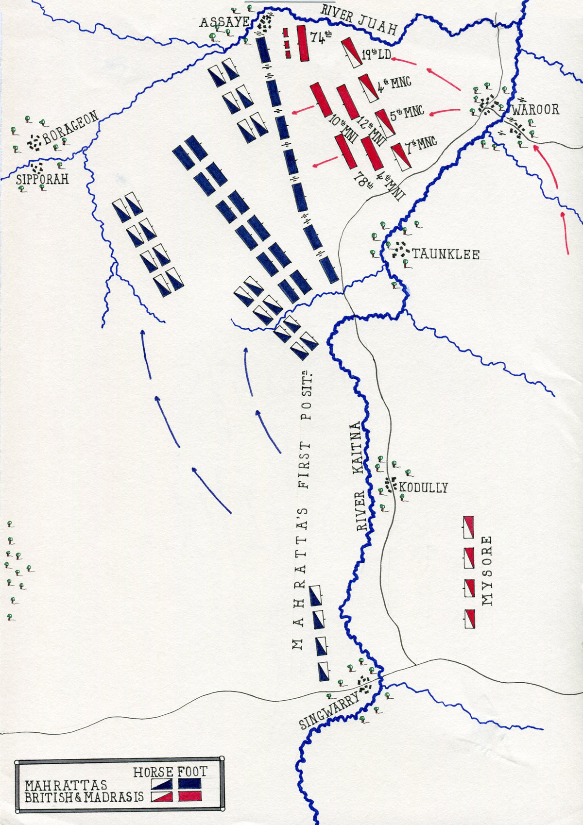 Map of the Battle of Assaye on 23rd September 1803 in the Second Mahratta War in India: map by John Fawkes