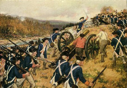 American troops moving onto Chatterton's Hill: Battle of White Plains on 28th October 1776 in the American Revolutionary War