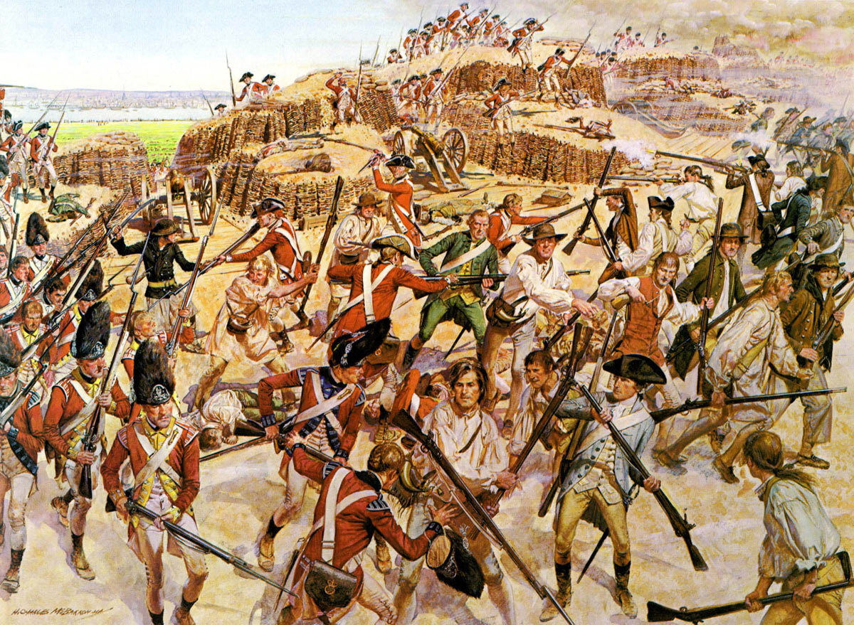 British Attack on Breed's Hill: Battle of Bunker Hill on 17th June 1775 in the American Revolutionary War