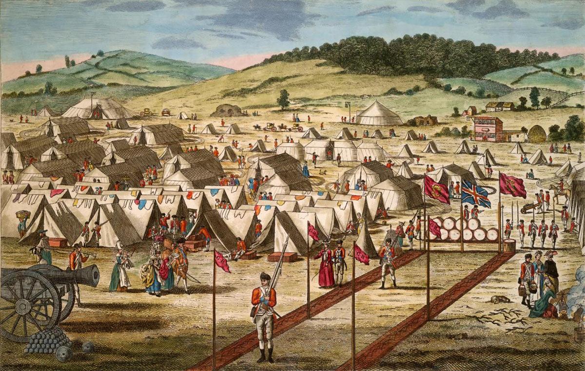 British encampment: Battle of Freeman's Farm on 19th September 1777 in the American Revolutionary War