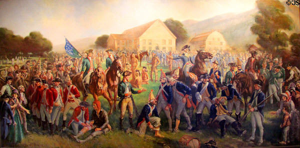 British and German prisoners after the Battle of Bennington on 16th August 1777 in the American Revolutionary War