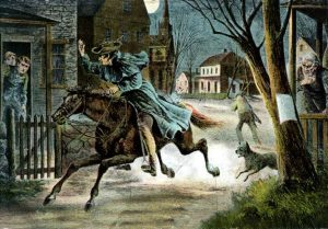 Paul Revere's ride calling 'The British are coming': Battle of Concord and Lexington 19th April 1775 American Revolutionary War: click here to buy this picture