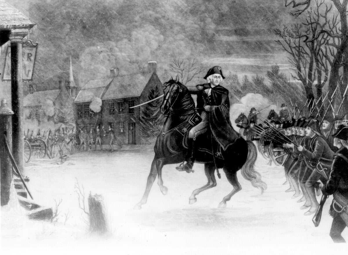 George Washington at the Battle of Trenton on 25th December 1776 in the American Revolutionary War