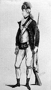 American Continental soldier: Battle of Guilford Courthouse on 15th March 1781 in the American Revolutionary War