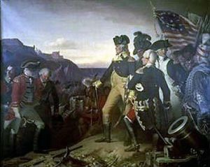 Surrender of the British army to George Washington and General de Rochambeau at Yorktown on 19th October 1781 in the American Revolutionary War: picture by Eugene Hess: buy this picture