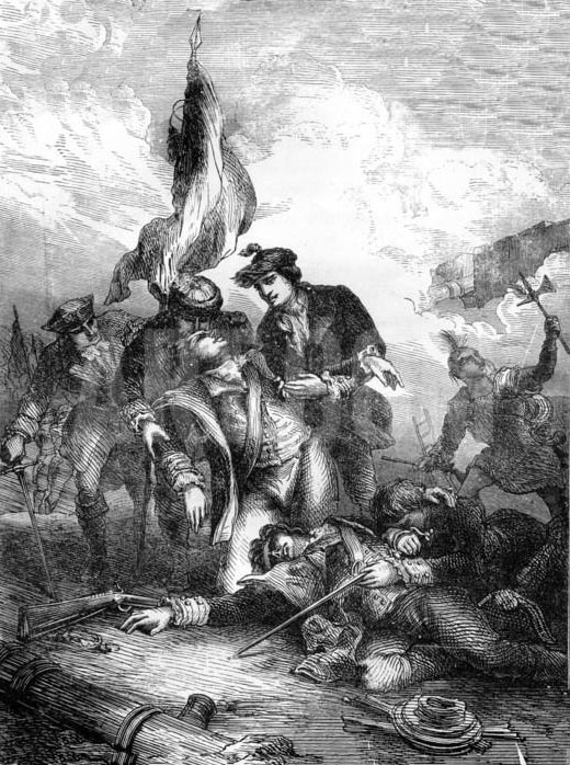 Death of General Montgomery: Battle of Quebec on 31st December 1775 in the American Revolutionary War: click here to buy this picture