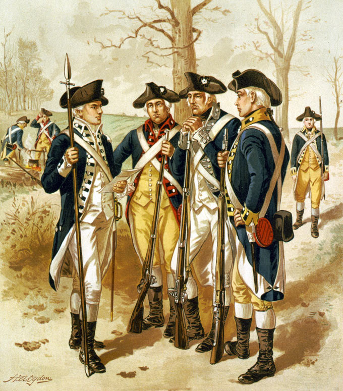 Soldiers of the American Continental Army: Battle of Monmouth on 28th June 1778 in the American Revolutionary War: picture by H.A. Ogden