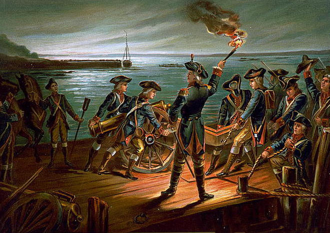 George Washington and the American evacuation from Brooklyn: Battle of Long Island on 27th August 1776 in the American Revolutionary War