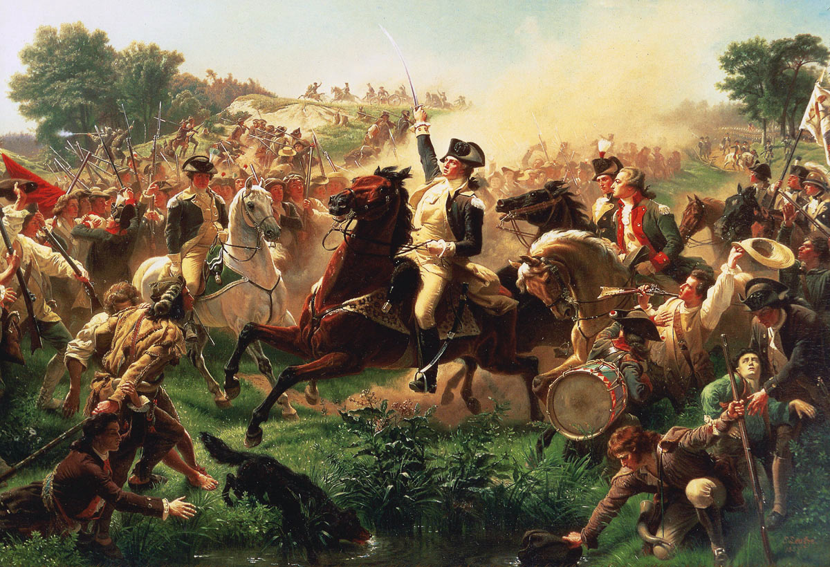 General George Washington at the Battle of Monmouth on 28th June 1778 in the American Revolutionary War: picture by Emanuel Leutze