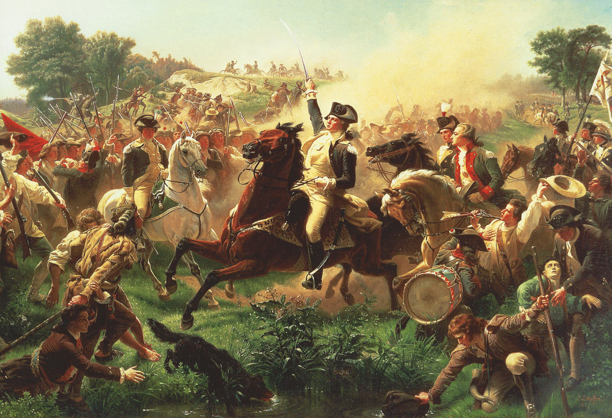 General George Washington at the Battle of Monmouth on 28th June 1778 in the American Revolutionary War: picture by Emanuel Leutze: click here to buy this picture
