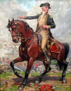 General George Washington at the Battle of Harlem Heights 16th September 1776 in the American Revolutionary War: picture by John Ward Dunsmore