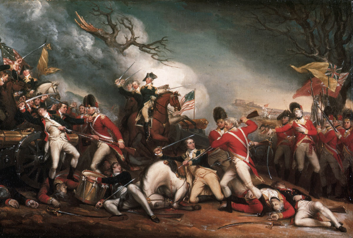 Death of Brigadier Hugh Mercer at the Battle of Princeton on 3rd January 1777 in the American Revolutionary War: picture by John Trumbull: click here to buy this picture