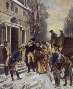 General George Washington arriving in Morristown, New Jersey, after the Battle of Princeton on 3rd January 1777 in the American Revolutionary War