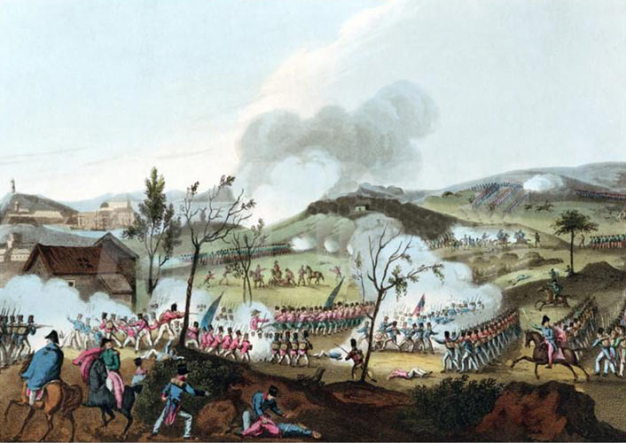 Battle of Corunna on 16th January 1809 in the Peninsular War: picture by William Heath: buy this picture