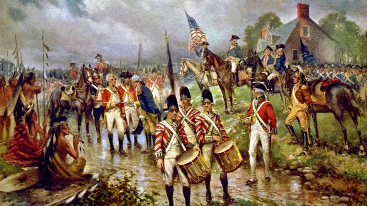 Surrender of General Burgoyne and the British Army to General Gates at the Battle of Saratoga on 17th October 1777 in the American Revolutionary War