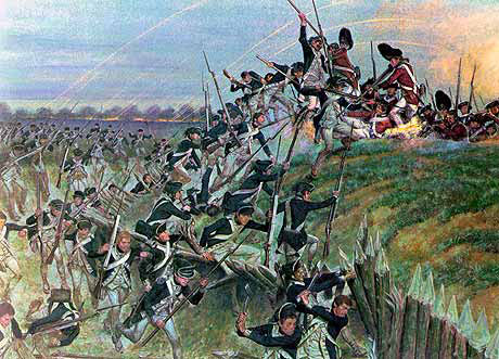 American troops storming a British redoubt: Battle of Yorktown 28th September to 19th October 1781 in the American Revolutionary War