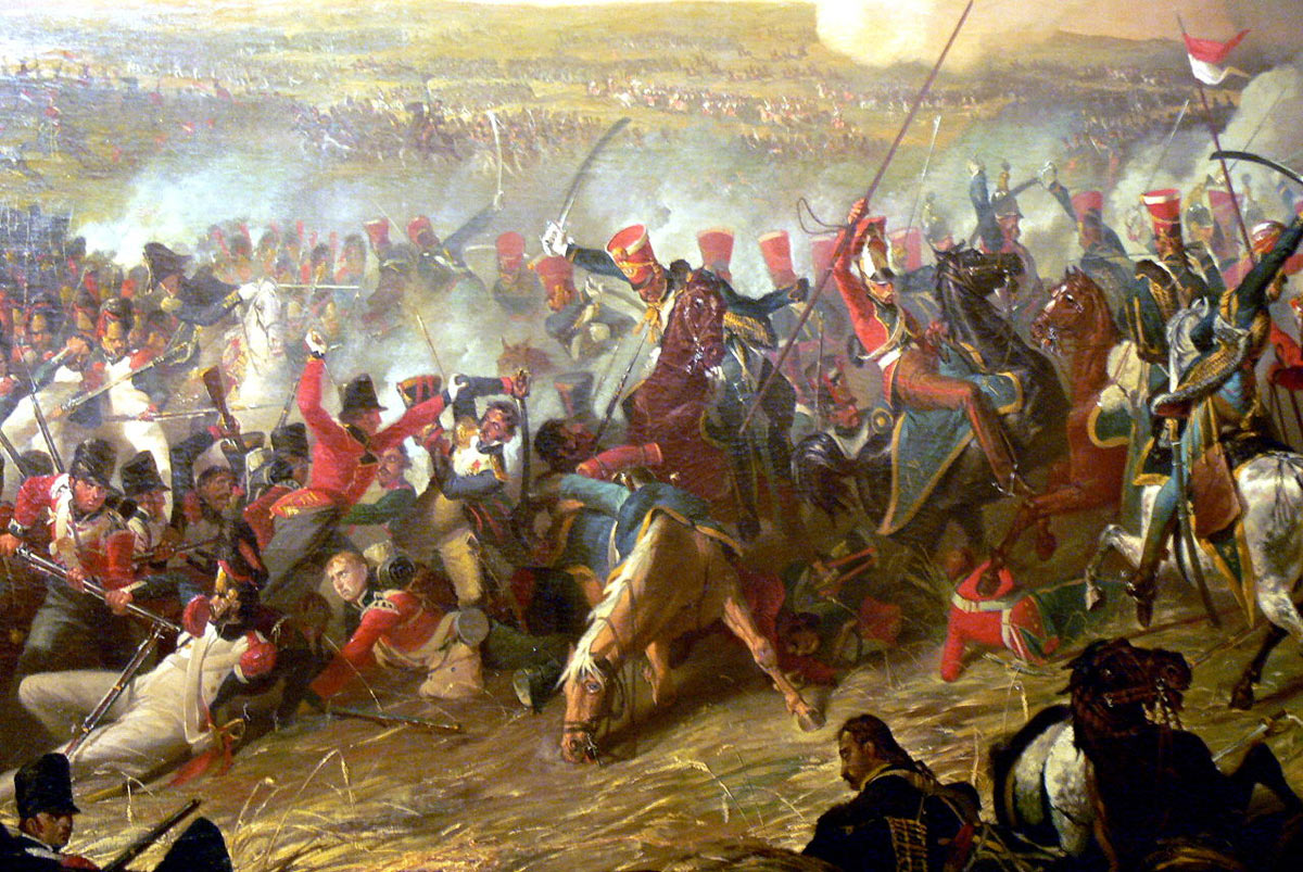 British 10th Hussars attacking the French infantry at the Battle of Waterloo on 18th June 1815: picture by Denis Dighton