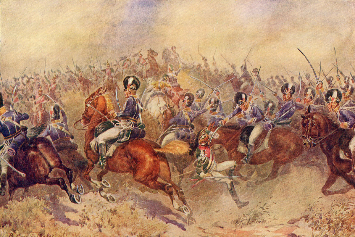 British 12th Light Dragoons in the charge at the Battle of Salamanca on 22nd July 1812 during the Peninsular War: picture by B. Granville Baker: buy this picture