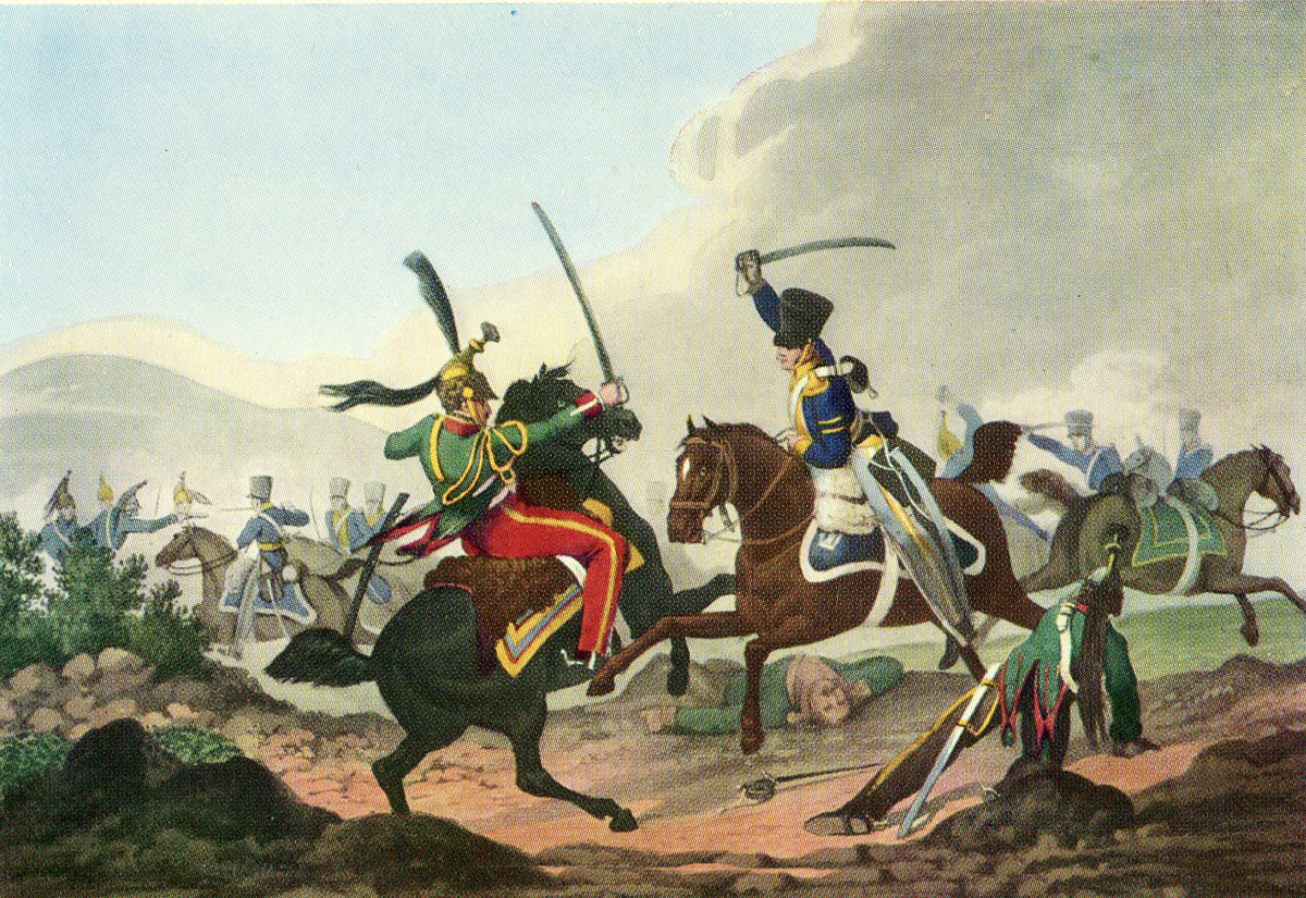 Corporal Logan of the British 13th Light Dragoons killing Colonel Count Charmarin of the French 26th Dragoons during the Battle of Albuera on 16th May 1811 in the Peninsular War