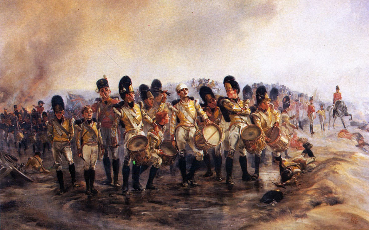 'Steady the Drums and Fifes' 57th Regiment at the Battle of Albuera on 16th May 1811 in the Peninsular War: picture by Lady Butler
