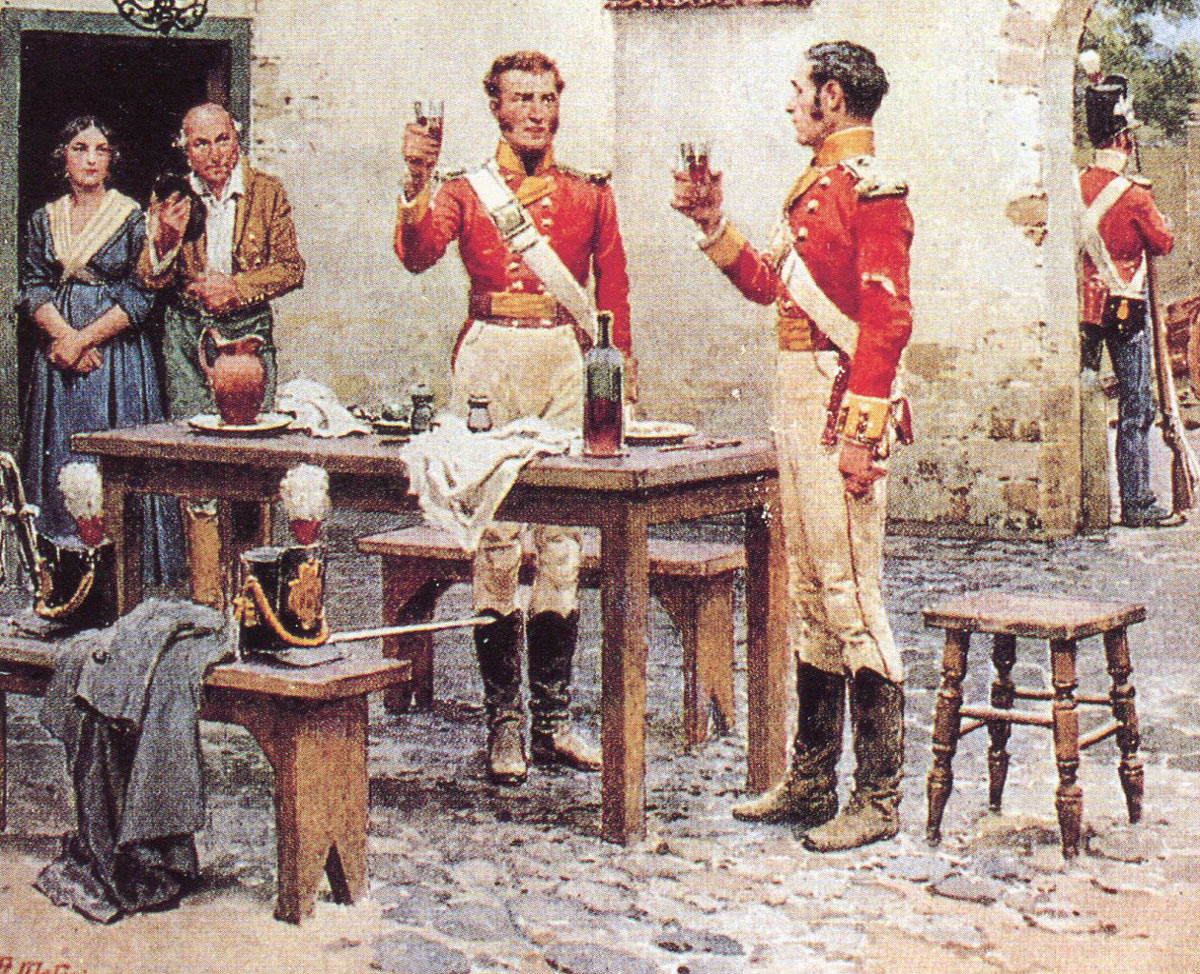 'The King': Officer's Mess of the 28th Regiment after the Battle of Albuera on 16th May 1811 in the Peninsular War: picture by Fortunio Matania