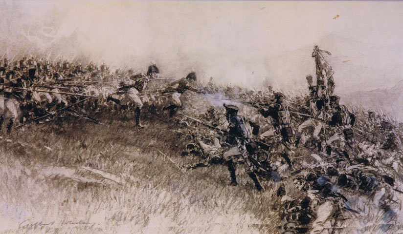 29th Regiment attacking the French at the Battle of Talavera on 28th July 1809 in the Peninsular War
