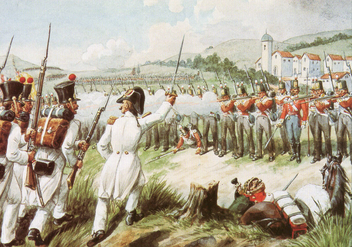 British 29th Foot standing firm against the French attack at the Battle of Vimeiro on 21st August 1808 in the Peninsular War: picture by Richard Simkin