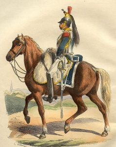 French Cuirassier: Battle of the Crossing of the Douro on 16th May 1809 in the Peninsular War: picture by Hippolyte Belange