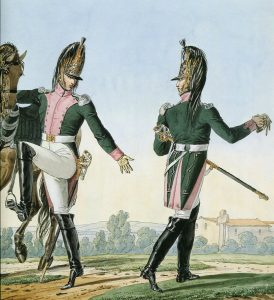 Captain and Lieutenant of French 16th Dragoons: Battle of Talavera on 28th July 1809 in the Peninsular War: picture by Horace Vernet