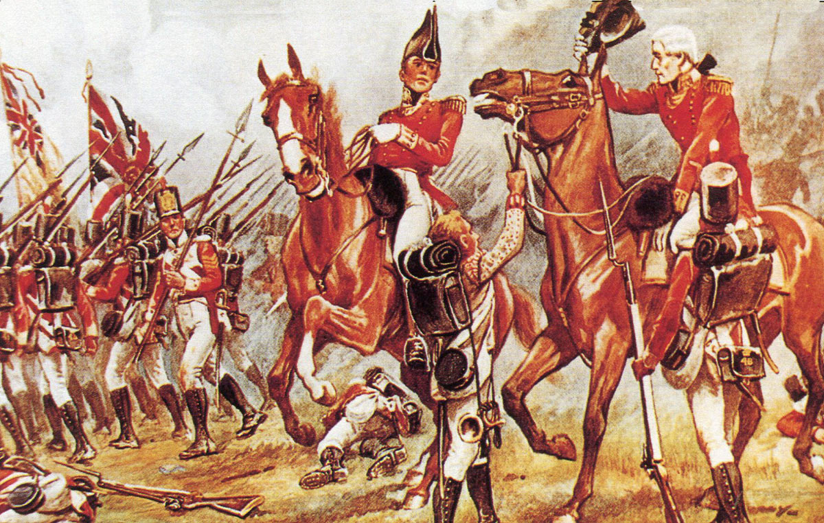The wounded Colonel Donellan gives command of the 48th Regiment to Major Middlemore at the Battle of Talavera on 28th July 1809 in the Peninsular War