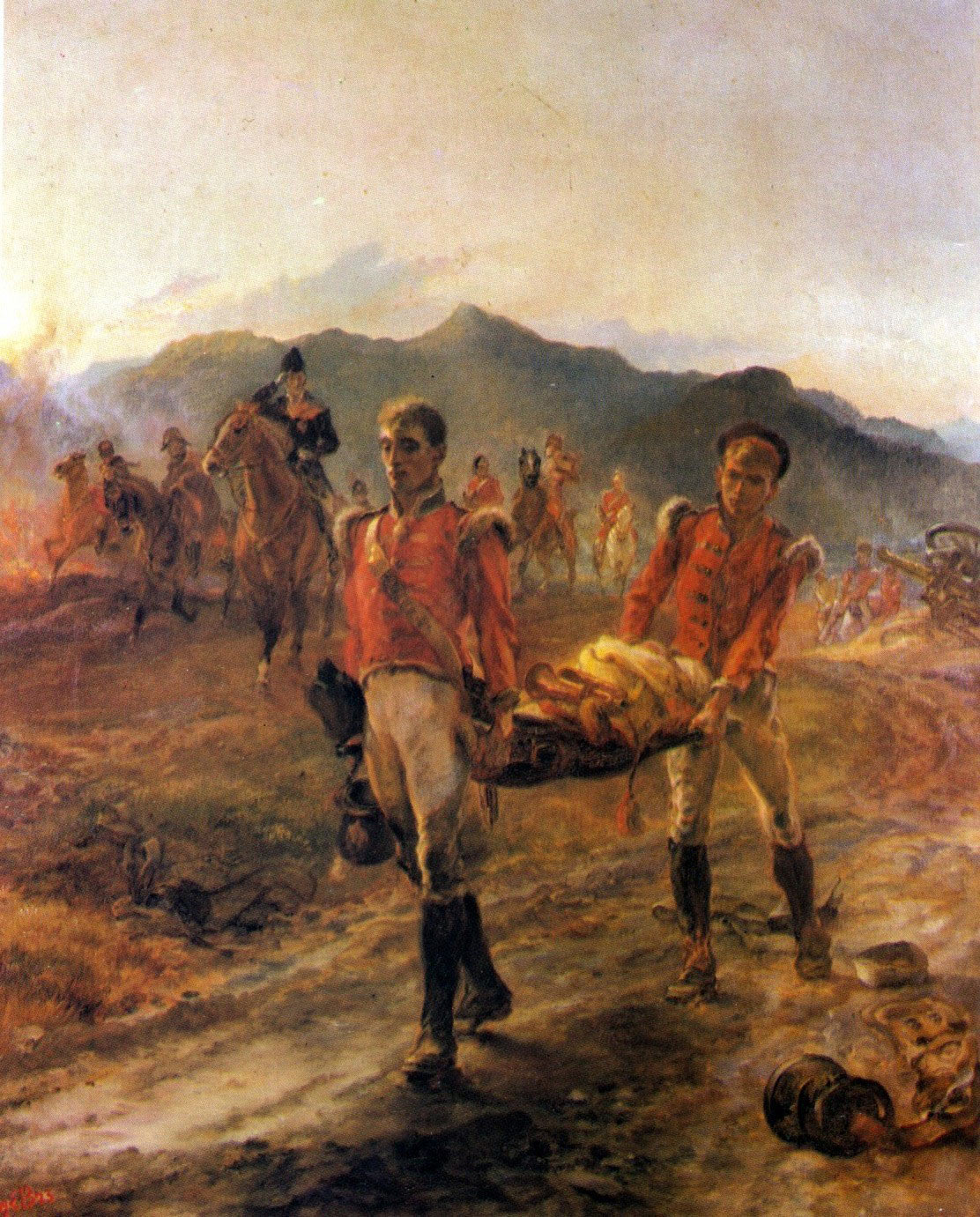 43rd Regiment collecting the dead after the Battle of Talavera on 28th July 1809 in the Peninsular War: picture by Lady Butler