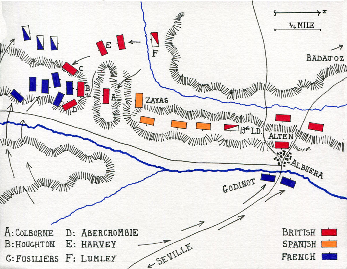 Map of the Battle of Albuera on 16th May 1811 in the Peninsular War: map by John Fawkes