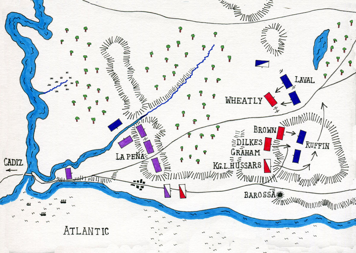Map of the Battle of Barossa on 5th March 1811 in the Peninsular War: map by John Fawkes