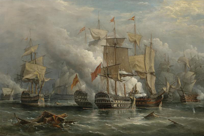 Battle of Cape St Vincent on 14th February 1797 in the Napoleonic Wars: picture by Richard Bridges Beechey: buy this picture