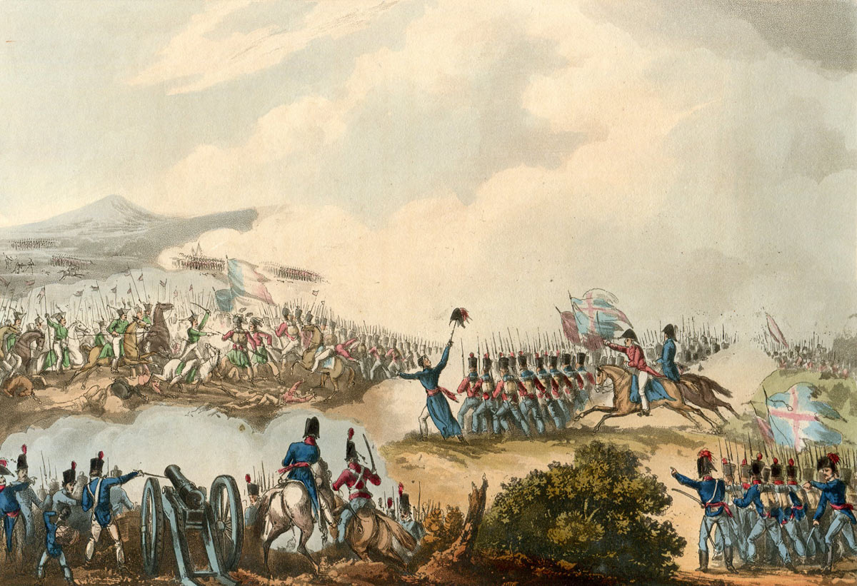 Battle of Albuera on 16th May 1811 in the Peninsular War: picture by William Heath
