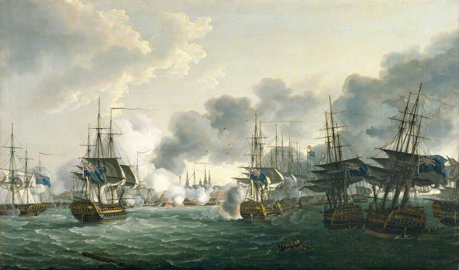 Nelson's British Fleet sails up the Royal Channel to attack the Danish Fleet and the Trekroner Citadel (The three British ships aground to the right are Bellona, Russell and Agamemnon): Battle of Copenhagen on 2nd April 1801 in the Napoleonic Wars: picture by John Thomas Serres: buy this picture