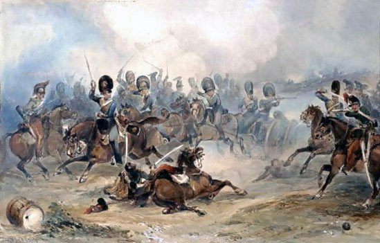 Captain Ramsey leads Bull's Troop through the French Cavalry at the Battle of Fuentes de Oñoro 3rd to 5th May 1811 in the Peninsular War: picture by George Bryant Campion