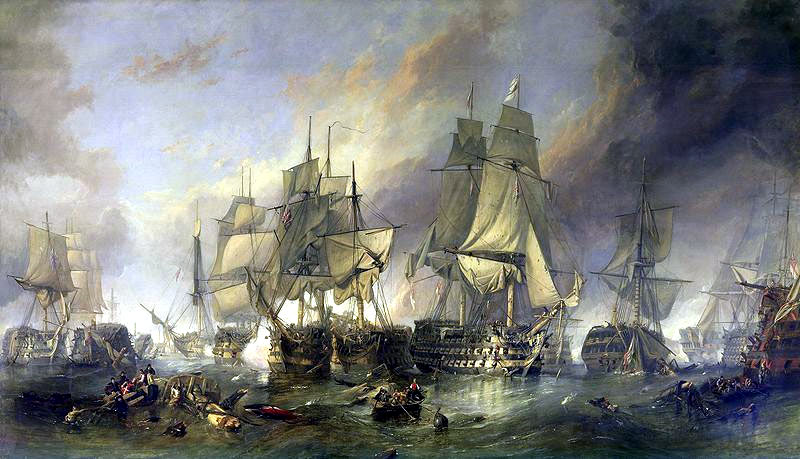 Battle of Trafalgar on 21st October 1805 during the Napoleonic Wars: picture by William Clarkson Stanfield