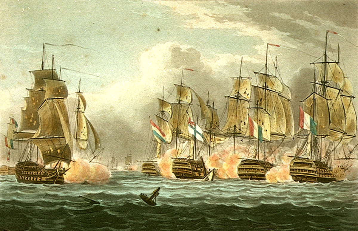 HMS Bellerophon (ship in centre) at the moment of the death of Captain Cook at the Battle of Trafalgar on 21st October 1805 during the Napoleonic Wars