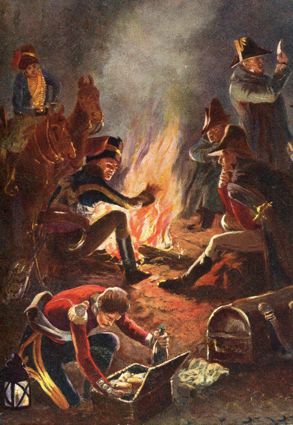 British bivouac night before the Battle of Busaco on 27th September 1810 in the Peninsular War: picture by Richard Caton Woodville: buy this picture in black and white
