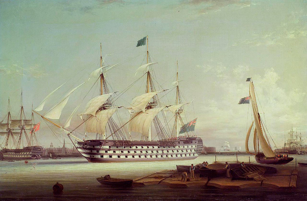 HMS Britannia entering Portsmouth Harbour: Battle of Trafalgar on 21st October 1805 during the Napoleonic Wars: picture by Robert Strickland Thomas