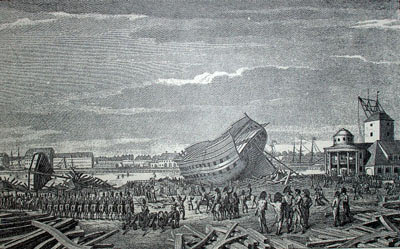 British destroying Danish ships under repair after the Battle of Copenhagen on 2nd April 1801 in the Napoleonic Wars